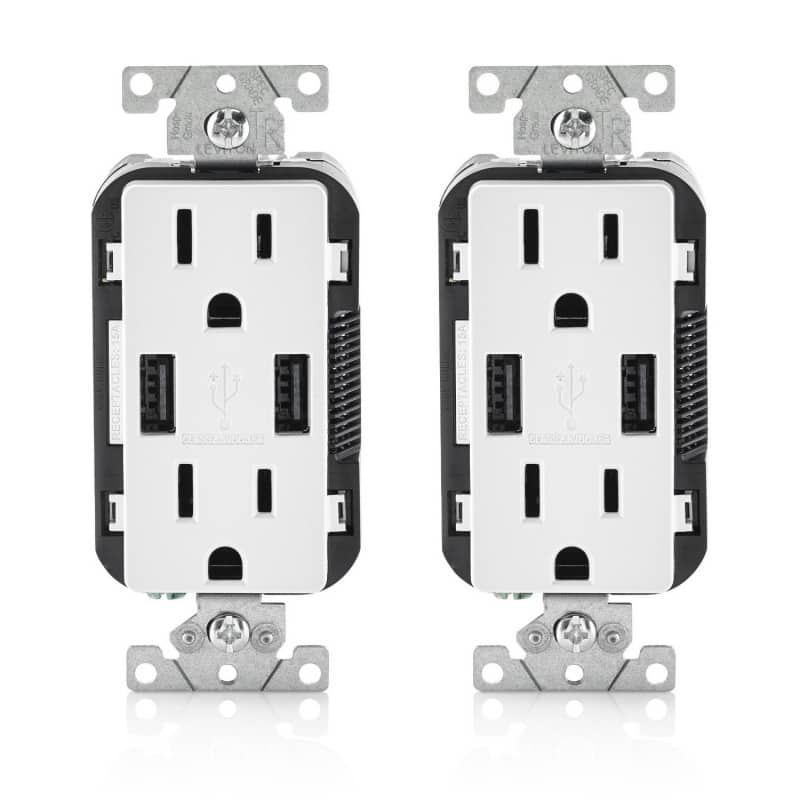 2-Pack LEVITON T5632-W Combo Duplex Receptacle & 15-Amp USB Charger (White) $34.99 + Free Shipping