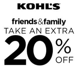 Kohl's Friends & Family Sale: Extra 20% Off +  $10 Off $50+ + Free In-Store Pickup