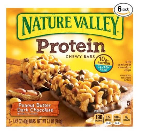 PRIME MEMBERS - 30 Nature Valley Peanut Butter Dark Chocolate Protein Chewy Bars (Six 5 Bar Packs) - $11.99 AC & S&S ($10.39 AC & S&S) - Amazon