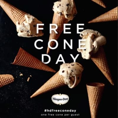 Haagen-Dazs: One Ice Cream Scoop (Cup, Sugar or Cake Cone)  Free (Valid 4-8PM, May 10, 2016)