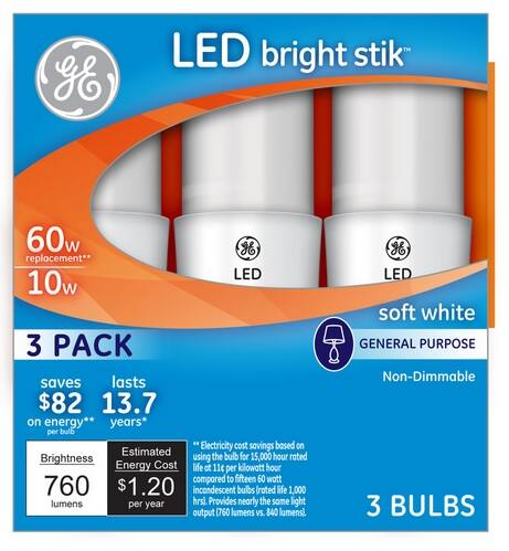 GE Bright Stik 3-Pack 10-Watt (60W Equivalent) 2,800K A19 Medium Base (E-26) Soft White Indoor LED Bulbs $6.98 - $5.98 some areas