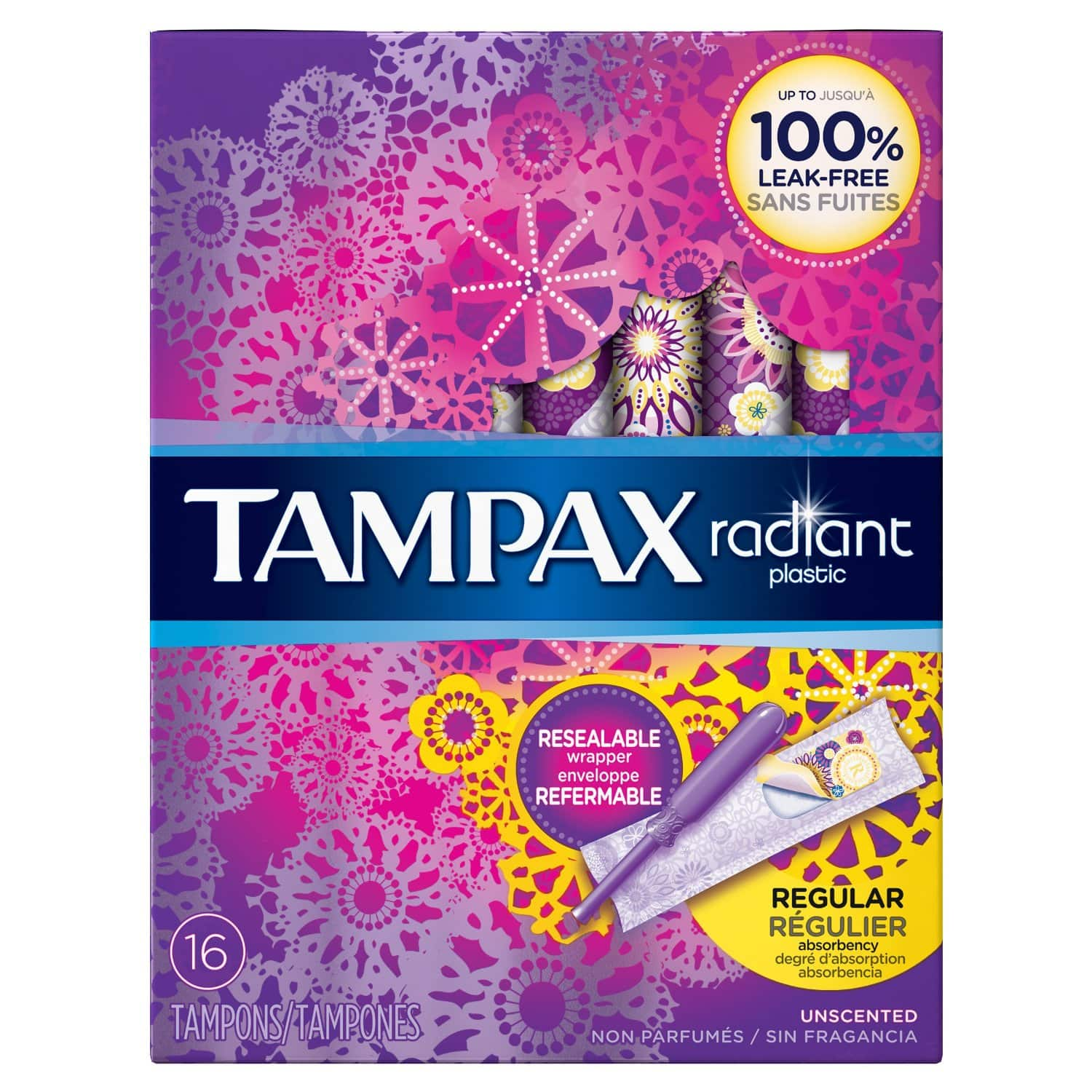 Amazon has 16-Count Tampax Radiant Plastic Unscented Tampons $2.37