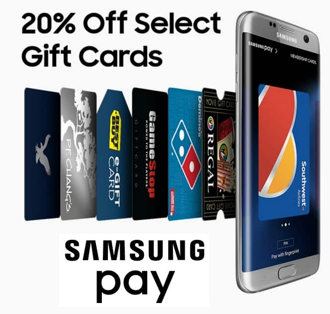 Samsung Pay App: Select Gift Cards: Best Buy, Game Stop  Extra 20% Off & More (Samsung Device Req.)