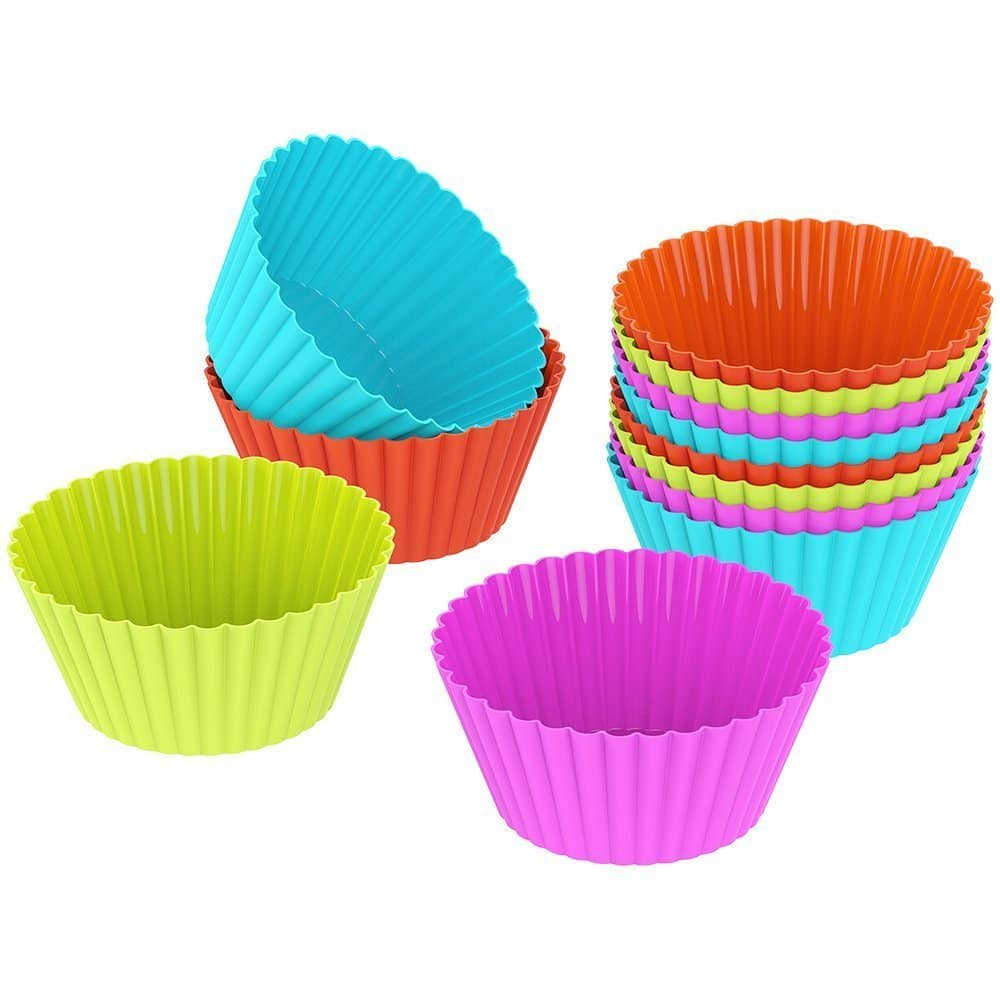 OliaDesign Silicone Cupcake, Muffin and Cake Baking Cup Liners Molds Sets (24 Pack), Multicolored - $2.99 AC + FS w/Prime