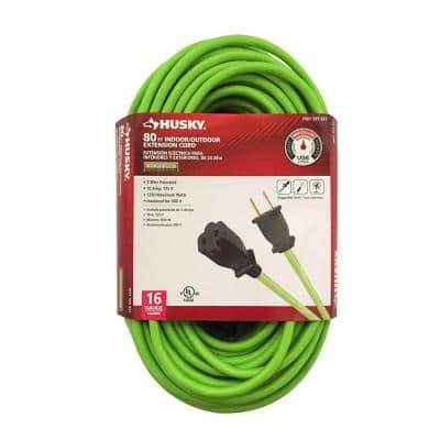 Husky 80' 16/2 Outdoor Extension Cord (Neon Green)  $8 + Free In-Store Pickup