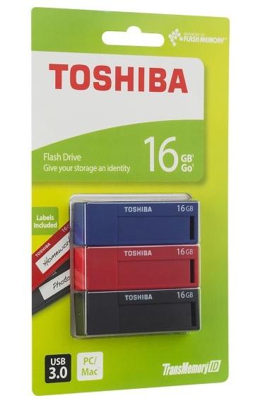 3-Pack 16GB Toshiba TransMemory ID USB 3.0 Flash Drives  $13 + Free S/H