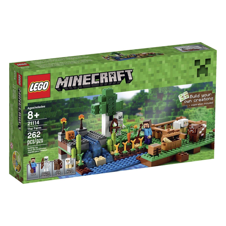 LEGO Minecraft Building Sets: Desert Outpost $42, The Farm  $19