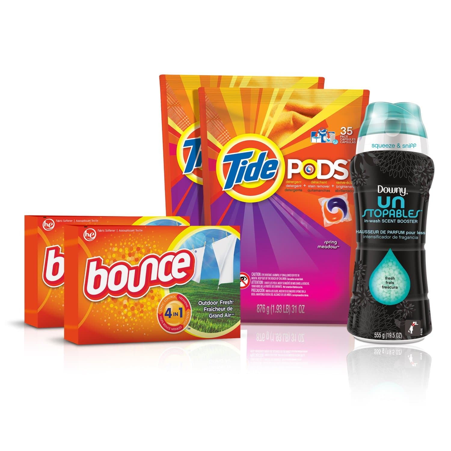 Tide Amazing Laundry Bundle (68 Loads): Tide PODS, Bounce Sheets and Downy Unstopables as low as $19.79