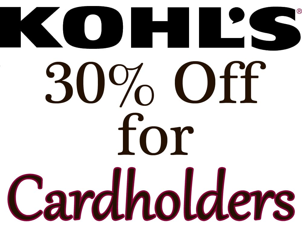 Kohl's Online Coupon for Cardholders  30% Off + Free S/H