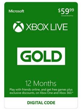 12-Month Xbox LIVE Gold Membership Card (Digital Download) for $32.99 AC @ Newegg.com