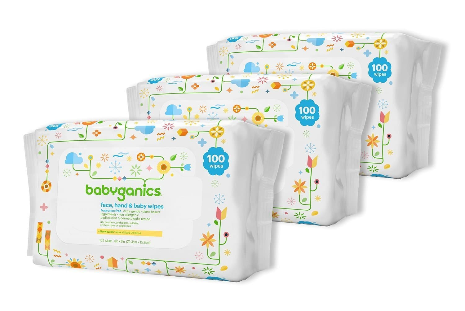 3-Pk 100-Ct Babyganics Face, Hand & Baby Wipes  $8.30 & More + Free S&H