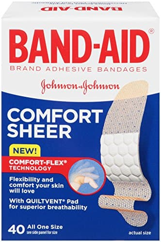 Band-Aid Adhesive Bandages, Sheer, All One Size 40 sterile bandages: $1.13 (or less) + FS @ Amazon