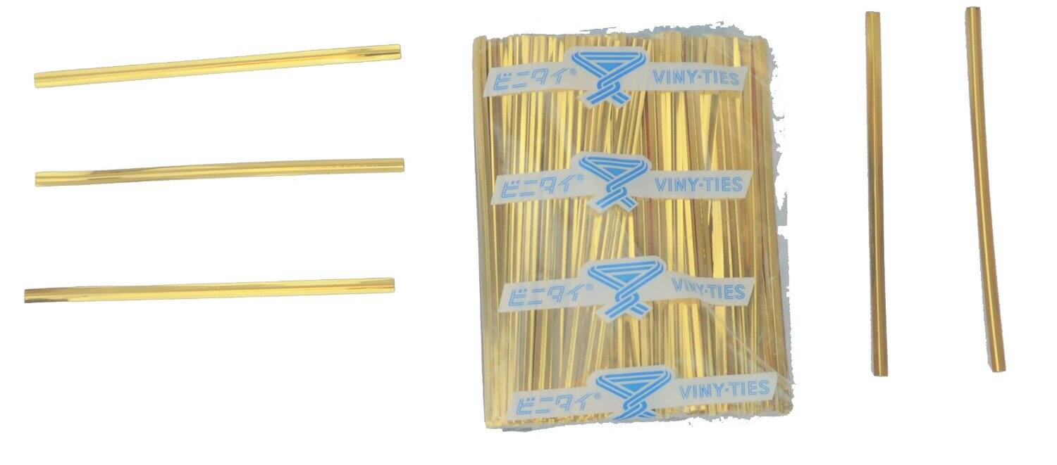"""500-Pack Tach-It 4"""" x 5/32"""" Gold Metallic Cut to Length Twist Tie  $2.10 & More"""
