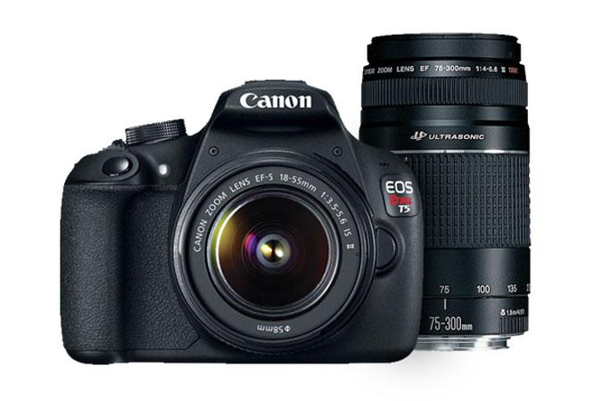Refurbished Canon EOS Rebel T5 EF-S 18-55mm IS II Kit & EF 75-300mm f/4-5.6 III USM--$245 + Tax