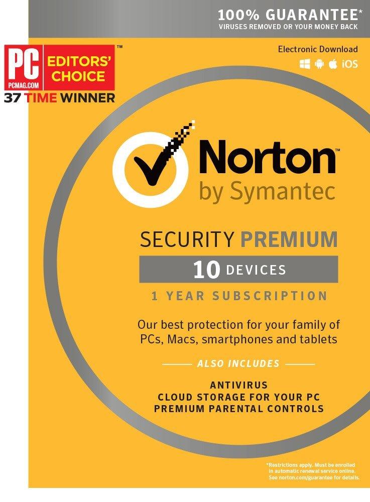 Norton Security Premium (1-Yr/10 Devices PC/Mac Key Card or Download Code) $27.99 via Amazon