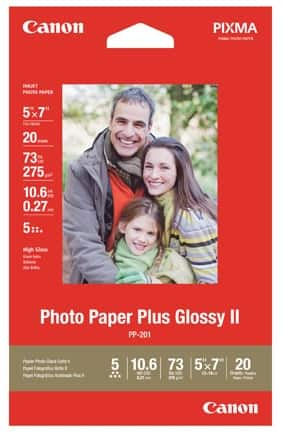 "Buy 1 Get 9 Free: 20-Sheet 5""x7"" Canon Photo Glossy II Paper  $10 & More"