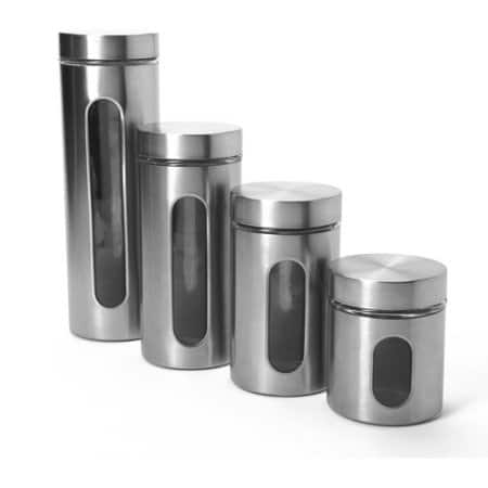 Anchor Hocking 4-Piece Palladian Canister Set with Window, Stainless Steel - Walmart - 14.39
