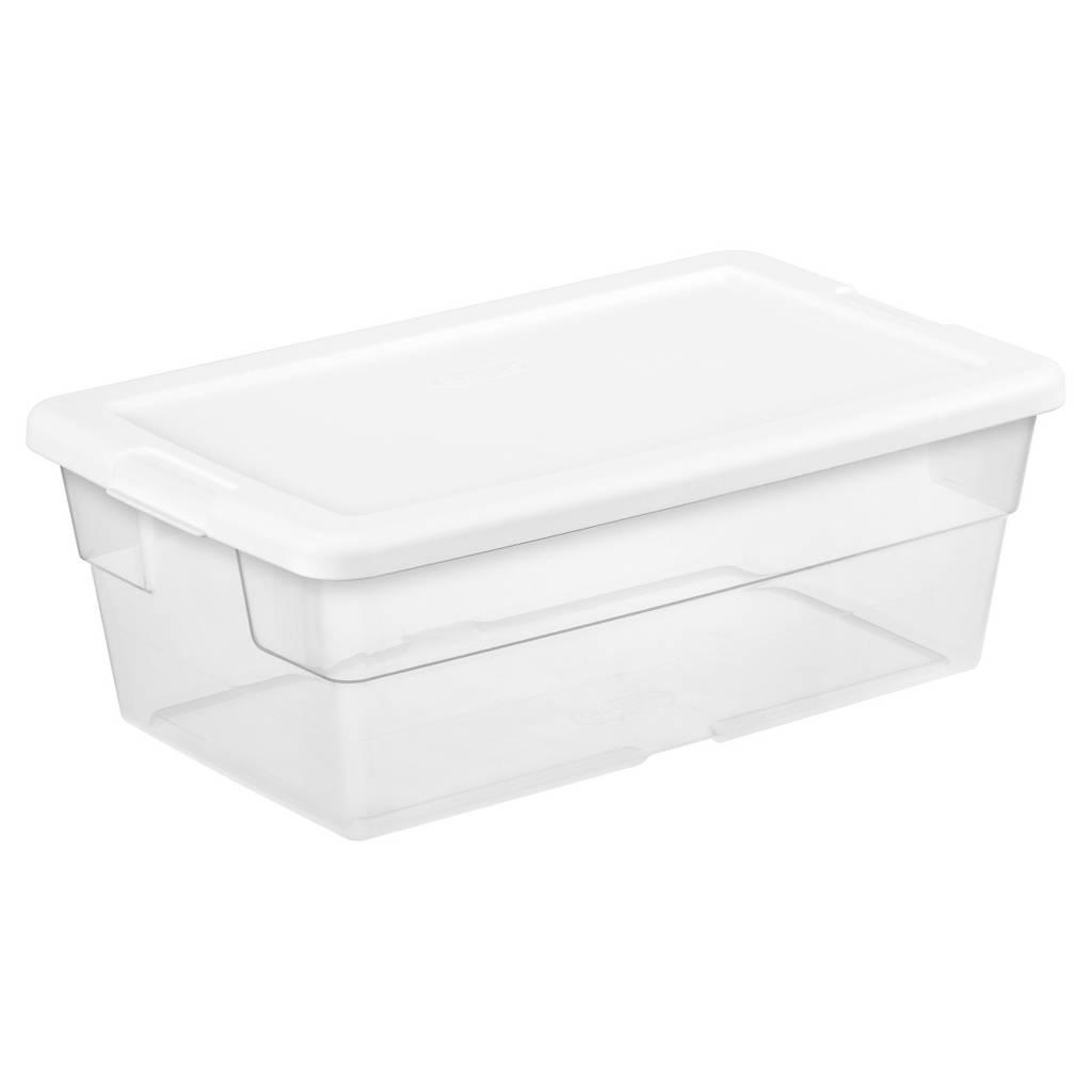 6-Quart Sterilite Storage Tote w/ White Lid (Clear)  $1 + Free In-Store Pickup