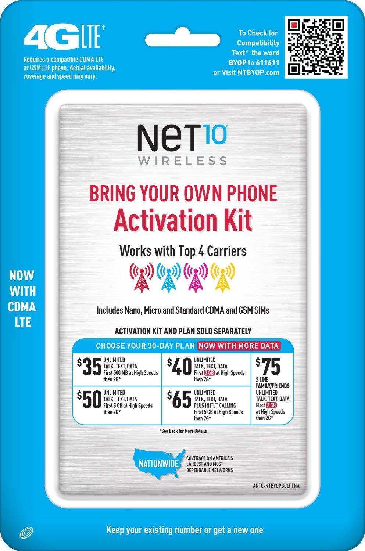Net10 Bring Your Own Smartphone SIM Kit $1+ BOGO Plan + Free Shipping