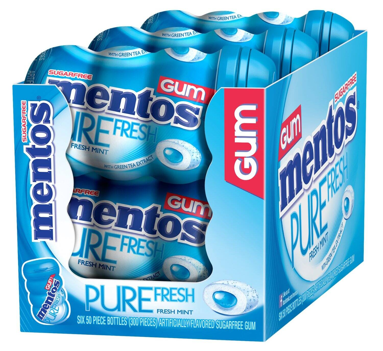 Mentos Gum Big Bottle Curvy, Pure Fresh Mint, (Pack of 6)  $10.50 or lower Shipped! Amazon Prime