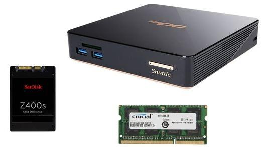 Shuttle Barebones NC01U5 w/ 256GB SanDisk SSD, 8GB DDR3L  $291