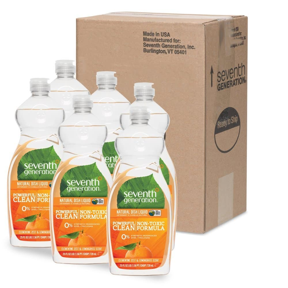 Amazon Prime Day: Seventh Generation Natural Dish Liquid, Clementine Zest & Lemongrass Scent, 25-Ounce Bottles (Pack of 6): $11.66 or less + FS