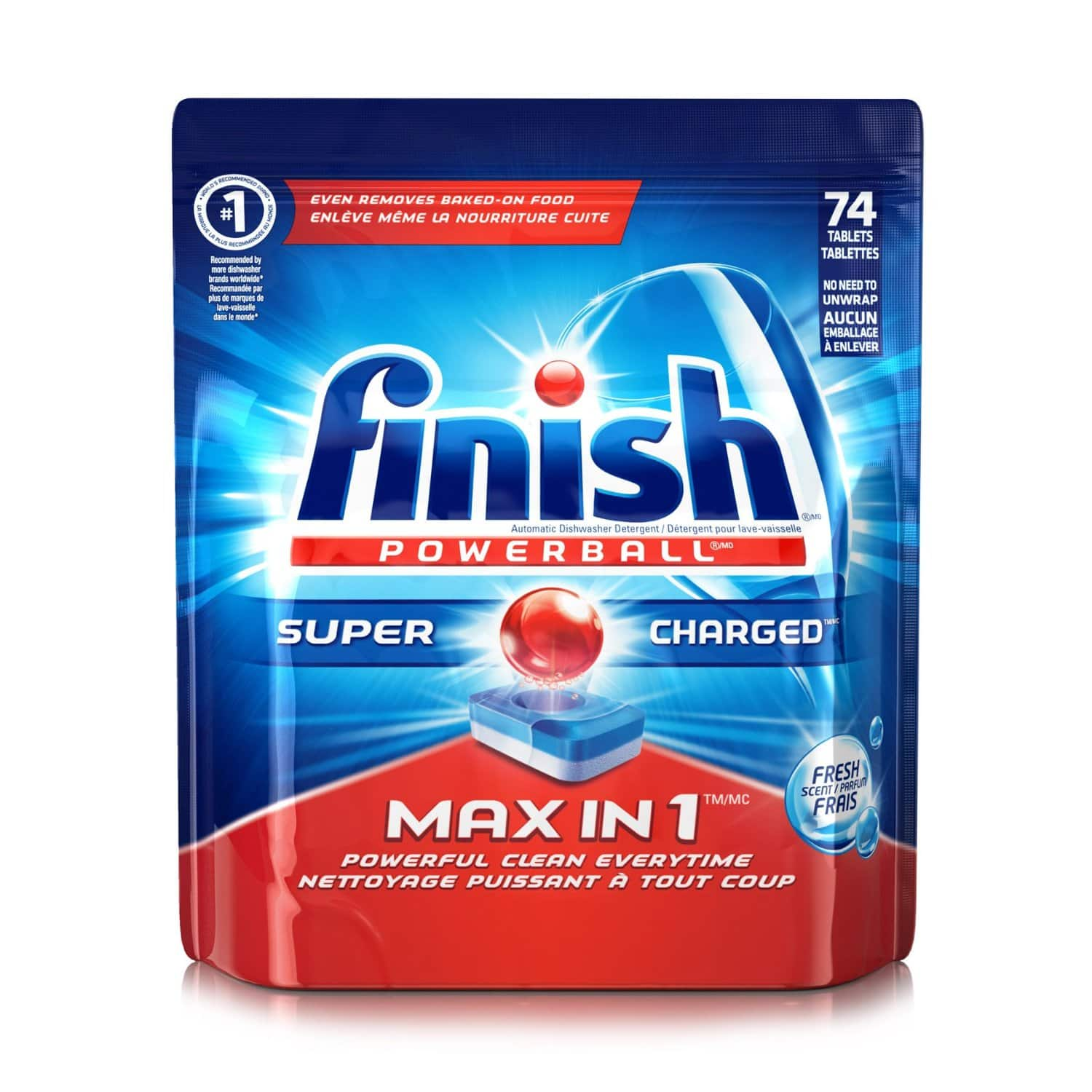 Prime Members: 74-Tablets Finish Max Powerball Detergent  $7 + Free S/H
