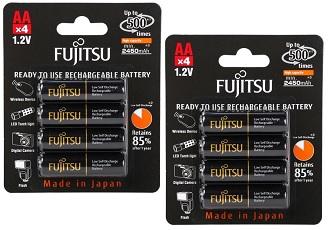 2 Ct. of 4-Pack Fujitsu AA High Capacity 2,550 mAh Ni-MH Rechargeable Batteries for $15.98 + Free Shipping @ Newegg.com