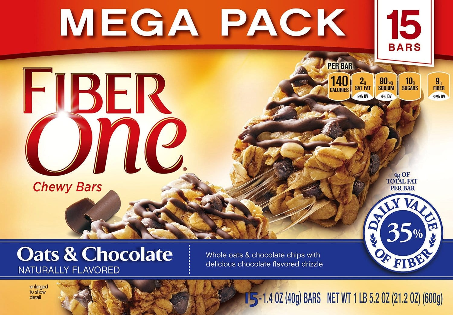Fiber One Chewy Bars Oats and Chocolate, 30 Bars, (2x 15-Bar Mega Packs), 21.2 oz. (Pack of 2): $8.79 after coupon and S&S
