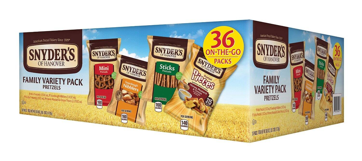 Snyders Hanover pretzel variety 36 count $9.39 or less with amazon S&S and coupon