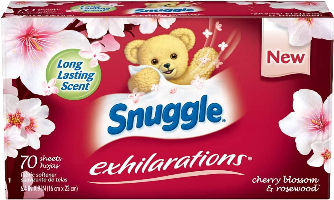 70-Ct Snuggle Exhilarations Fabric Softener Dryer Sheets (Cherry Blossom and Rosewood) $2.23 or less + free shipping