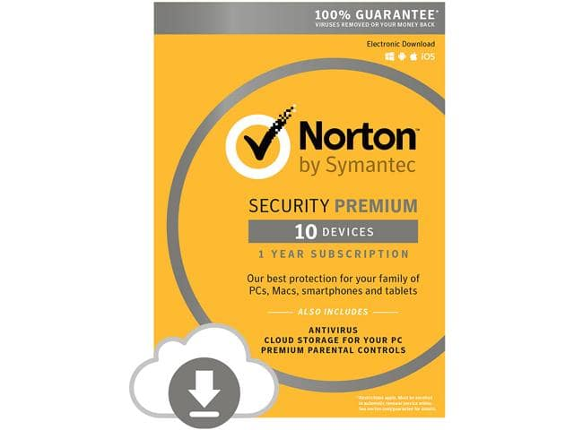 Norton Security Premium w/ Antivirus: Physical or Digital Download (1-Yr/10 Devices) $29.99 AC + Free Shipping