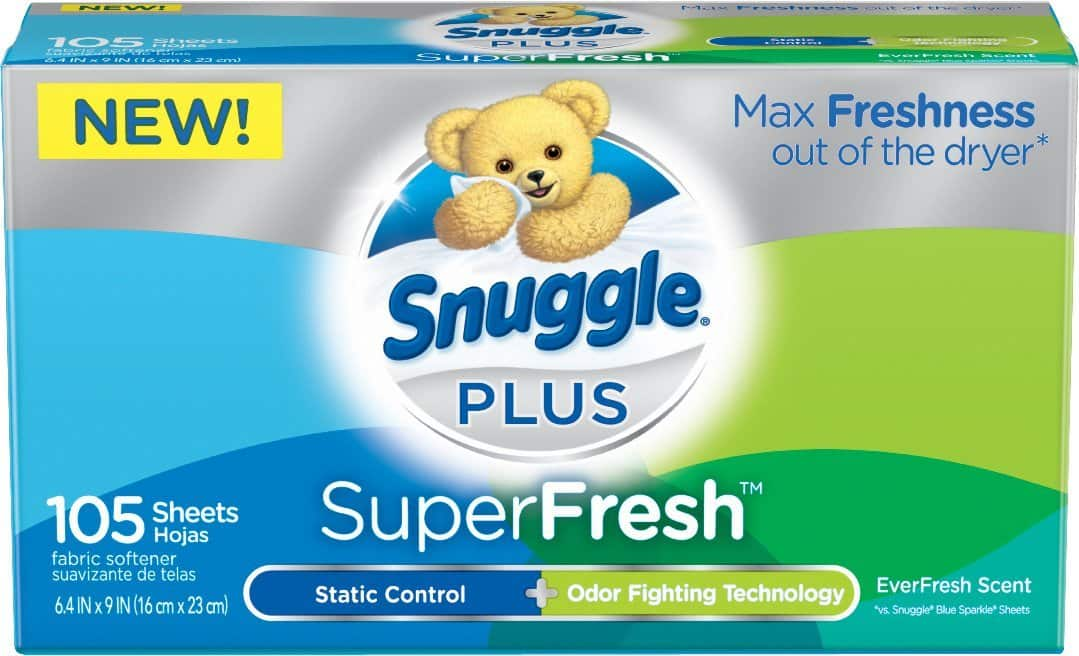 Snuggle Plus Super Fresh Fabric Softener Dryer Sheets with Odor Fighting Ingredients, 105 Count - $2.93 or Less AC w/S&S