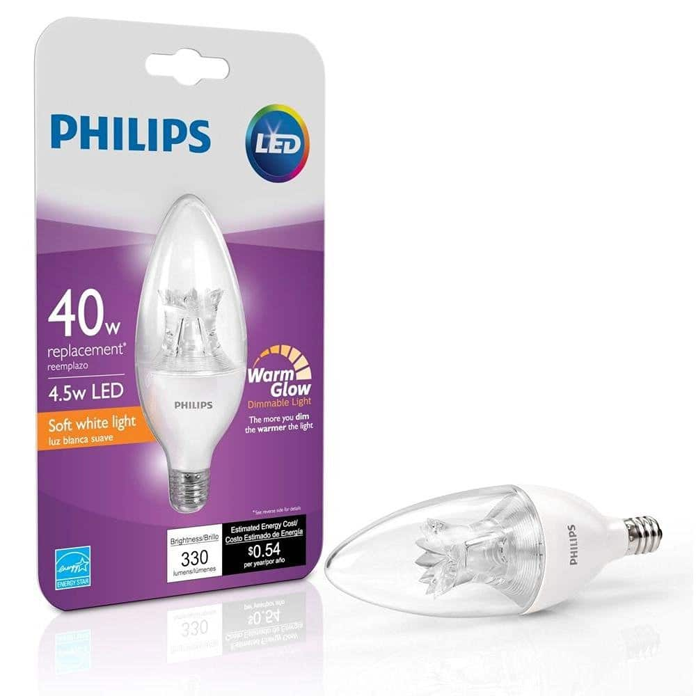 4-Pack Philips 40-Watt Equivalent Dimmable B12 2700K Decorative Candle Candleabra Base LED Light Bulb With Warm Glow Effect $12.79 + Free Shipping w/ Prime or FSSS