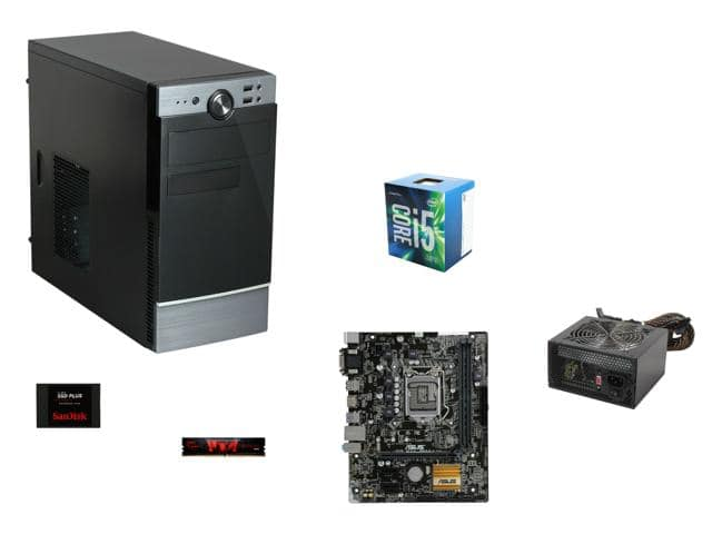 Intel Core i5-6500 Quad-Core 3.2GHz CPU + Asus H110M-A mATX MOBO + 8 GB G. Skill DDR4 2133 Memory + Rosewill FBM-02 mATX Case + 120GB SanDisk SSD & More for $346.99 AR @ Newegg.com
