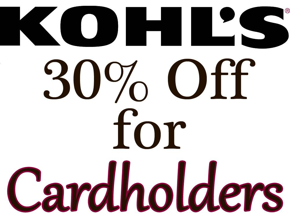 Kohl's Cardholders Coupon for Additional Savings  30% Off & More + Free S&H