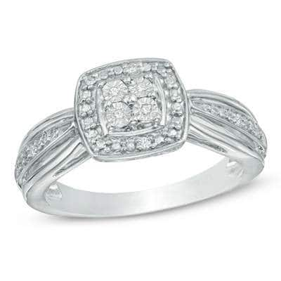 Quad Diamond Accent Square Frame Promise Ring in Sterling Silver  $30 + Free S/H