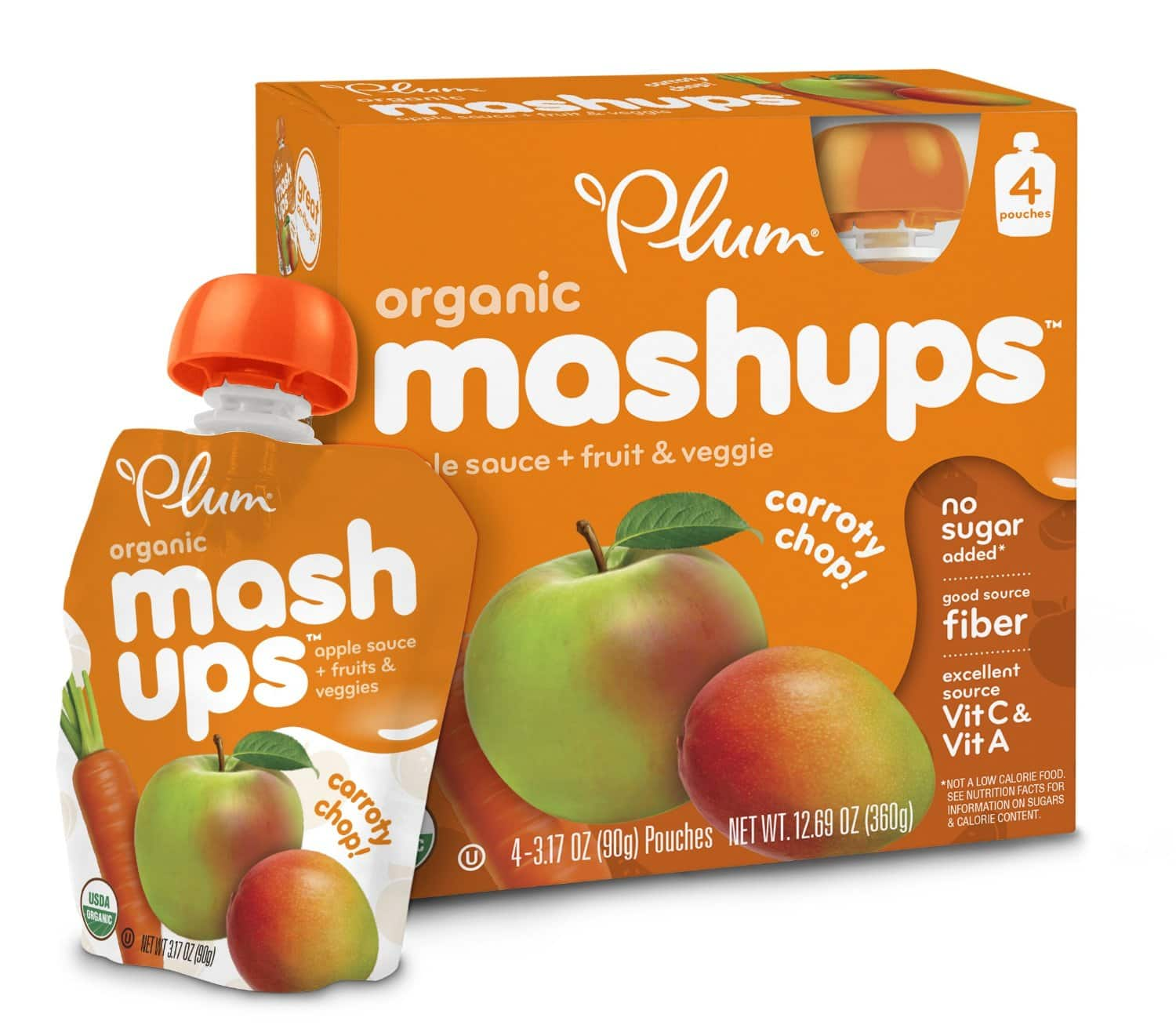 6 Pack Plum Kids Organic Fruit and Veggie Mashups Carroty Chop 3.17 Ounce 4 Count for $13.73 at amazon