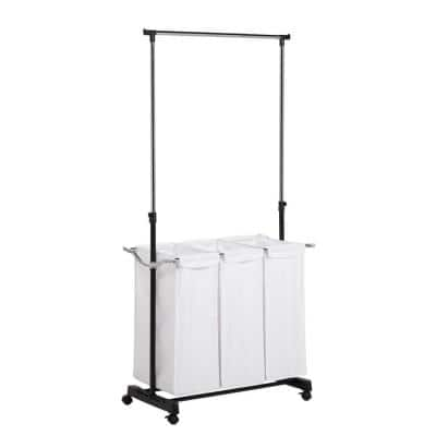 Home Storage Items: Triple Sorter Laundry Center w/  Hanging Bar $25, Commercial Metal Table w/ Basket $19, Rolling Garment Rack $10.80 & more