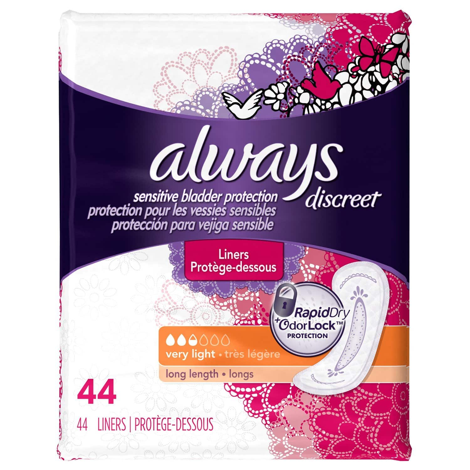 44-Count Always Discreet Incontinence Liners (Light & Long) $2.60 Free S/H @Amazon