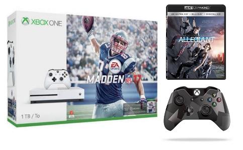 1TB Xbox One S Madden NFL 17 Bundle w/ 4K Movie + Controller  $349 + Free S/H