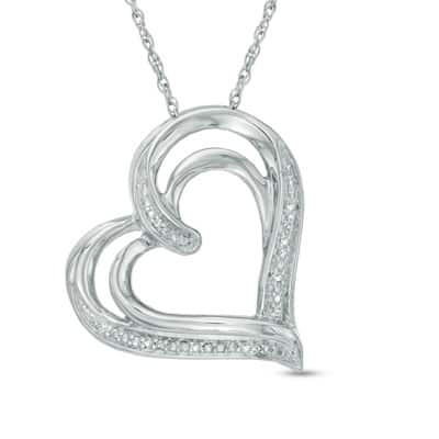 Zales Diamond Accent Tilted Heart Pendant in Sterling Silver  $25 + Free S/H