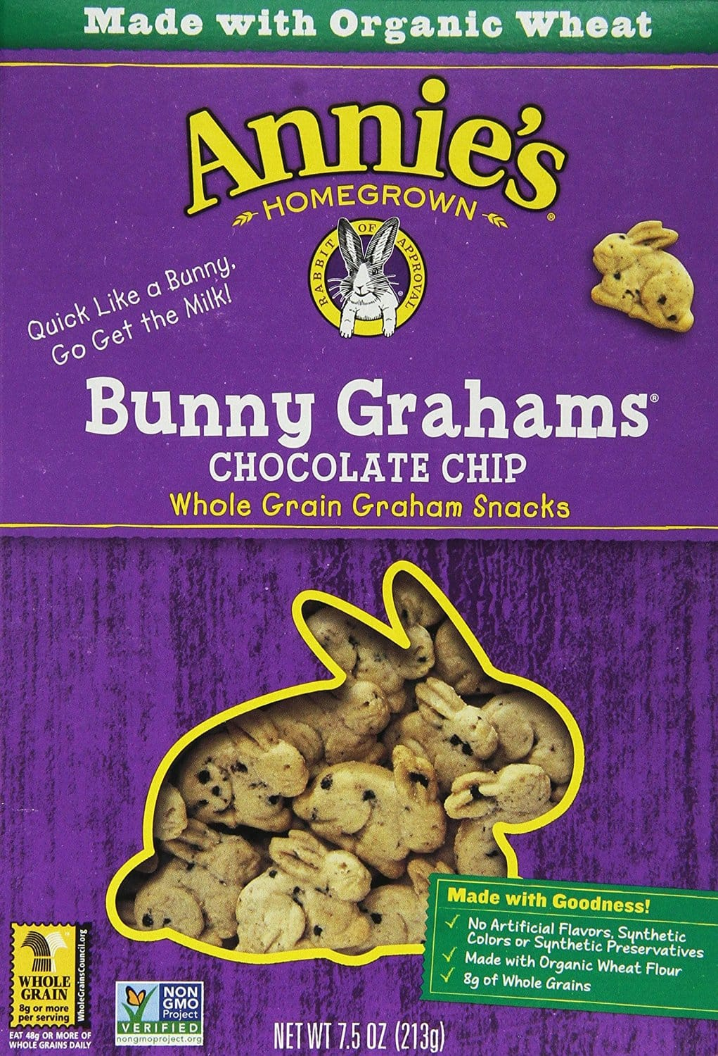 Annie's Homegrown Bunny Grahams Chocolate Chip, 7.5-Ounce Boxes (Pack of 12) $12.45 or less