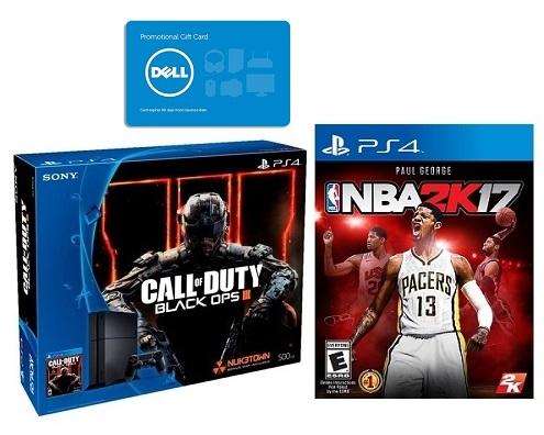 Playstation 4 BO III Bundle + NBA 2k17 + $75 Dell Promo Gift Card - $299.99