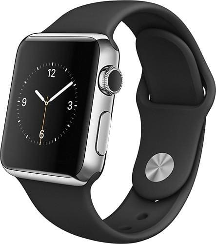 Apple Watch 38mm Stainless Steel Case Black Sports Band MJ2Y2LL/A (Refurbished) $159.99 + Free Shipping @ Best Buy