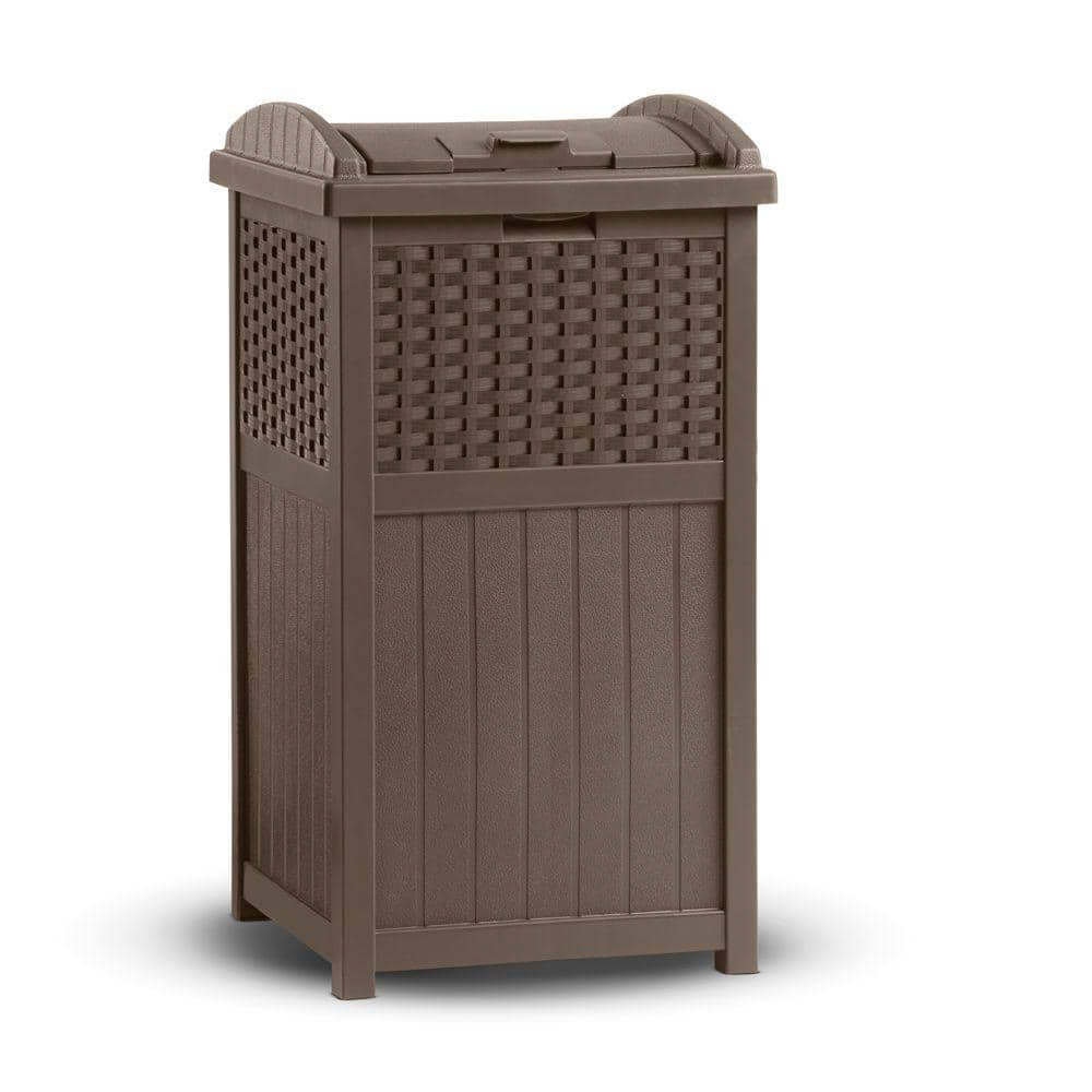 Suncast Outdoor Storage Units: 33-Gallon Resin Wicker Trash Hideaway  $30 & More + Free S/H