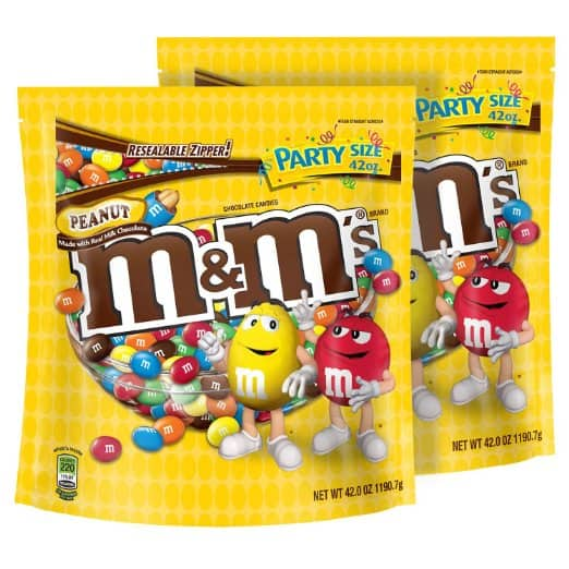 M&M'S Peanut Chocolate Candy Party Size 42-Ounce Bag (Pack of 2) $13.18