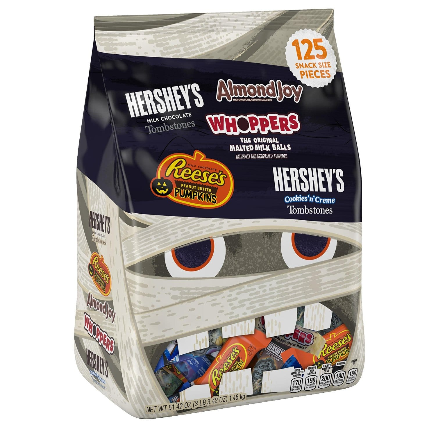 HERSHEY'S Halloween Snack Size Assortment (51.42-Ounce Bag, 125 Pieces) $9.75 at amazon