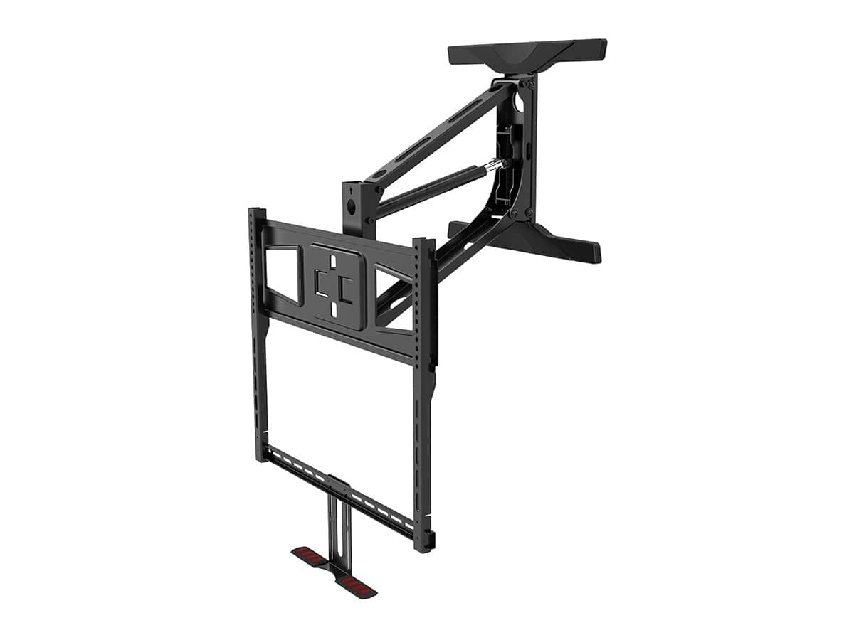 Monoprice above fireplace pull down full motion tv wall for Tv wall mount tilt down