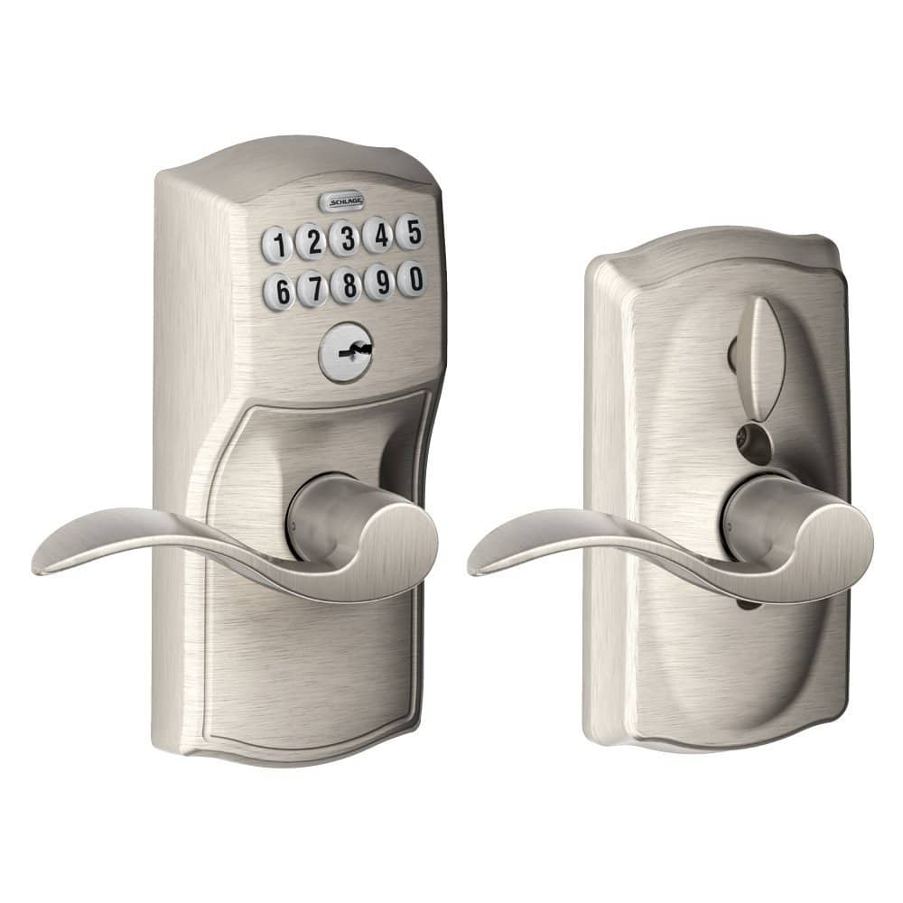 Schlage FE595 Camelot Keypad Entry w/ Flex Door Lock & Accent Levers (Satin Nickel) $69.85 & More + Free Shipping via Amazon